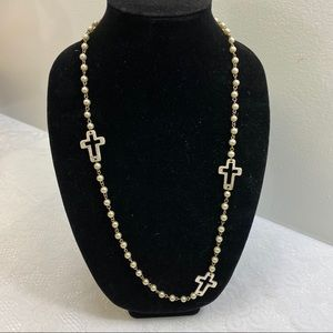 Jewelry - Silver Color Cross And Faux Pearl Necklace